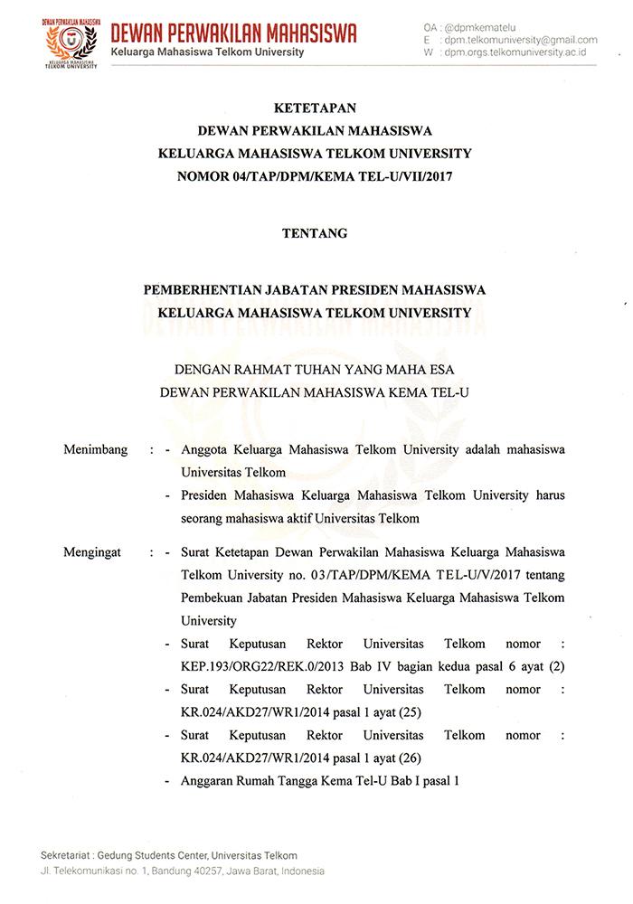 Surat Ketetapan Pemberhentian Presma Bem Kema Tel U 2017